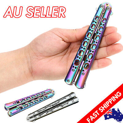 Rainbow Dragon Butterfly Knife Balisong Metal Folding Practice Training Tool New