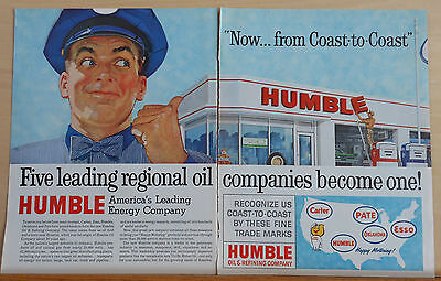 1960 two page magazine ad for Humble - Five Companies become one, colorful ad