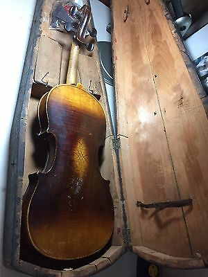 Old Violin With 1 Piece Back With Rosin ( Not A Fire) With Coffin Case