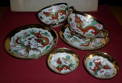 Vintage Pair Chinese Porcelain Cups/saucers/bowls Exc- Condition