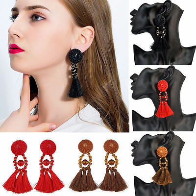 Women Fashion Rhinestone Long Tassel Dangle Earrings Fringe Drop Earrings UK