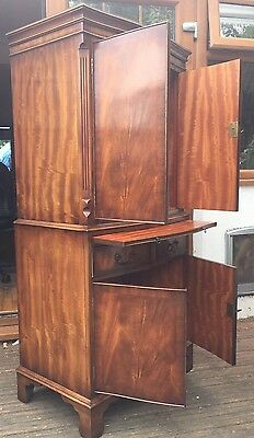 Bevan Funnell Reprodux Serpentine Cocktail Cabinet Or Secretaire Tall Cupboard