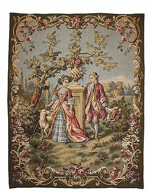 Vintage French Tapestry Wall Hanging. 'Flowers for the Shepherdess' Aubusson