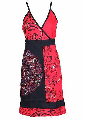 Tattopani Women'S Sleeveless Summer Sun Dress With Multicolored Patch Design