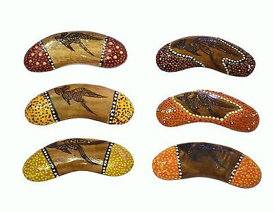 Wooden Aboriginal Fridge Magnet Australian Made - boomerang