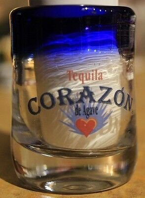 Corazon Tequila Shot Glass VERY RARE Blue Rim Hand Blown Glass standard size