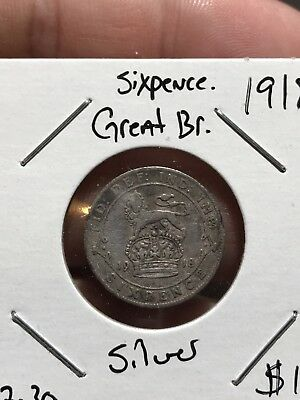 1918 Great Britain Silver Sixpence . Collector Coin For Your Collection R Set