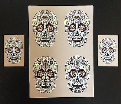 Sugar Skulls Wrapping Paper, day of the dead Mexico 2 sheets plus 2 Gift Tags