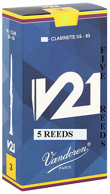 5 Vandoren V21 Bb Clarinet Reeds Available Strengths 2.5 3 3.5 or 3.5+ Free Del