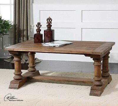 French Country Old World Tuscan Solid Reclaimed Wood Saturia Coffee Table