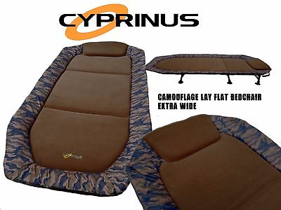 Cyprinus Camouflage Wide Layflat Carp Fishing Bed Bedchair Seat Extra Large Wide