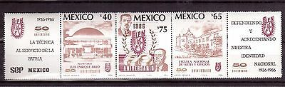 MEXICO 1986 #1433a STRIP OF 3 MINT NH, POLYTECHNIC INSTITUTE 50th ANNIVERSARY !!