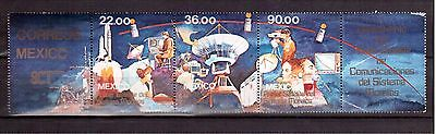 MEXICO 1985 #1388a STRIP OF 3 MINT NH, MORELOS SATELLITE LAUNCH !!