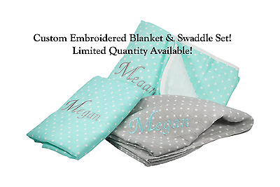 BIRTH ANNOUNCEMENT Personalized 4-Ply Muslin Blanket /& Swaddle Set NEW