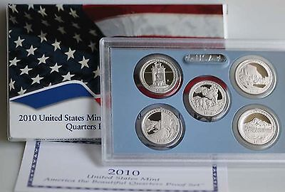 2010 America the Beautiful Quarters Clad Proof ATB 5 Coin Set Coins Box and COA