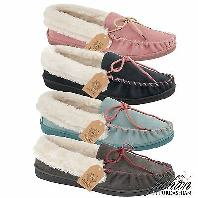 New Ladies Real Leather Suede Fur Slip On Moccasin Slippers Loafer House Shoe