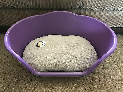 Medium Purple Plastic Pet Bed Cat Dog Basket Luxury Grey Fleece Washable Cushion