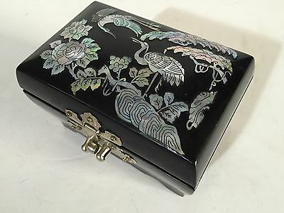 vintage Asian Mother of Pearl Inlay black lacquer Wood Jewelry cigarette Box