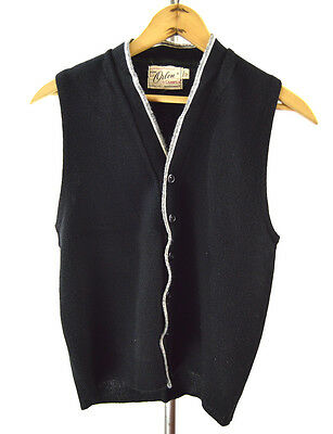 Vintage 1950s Boys Black w/Grey and White Trim Campus Brand Sweater Vest Large