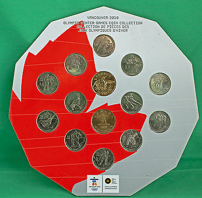 2010 Canada Vancouver Olympic Winter Games 14 Coin Cardboard Set W/ Loonies RCM