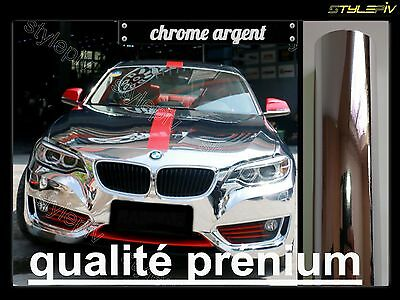 Film chrome vinyle covering argent 150 x 30 cm thermoformable adhésif