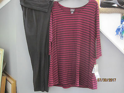 NEW w tags Oh Baby by Motherhood Legging AND Striped Top Shirt Sz L Large