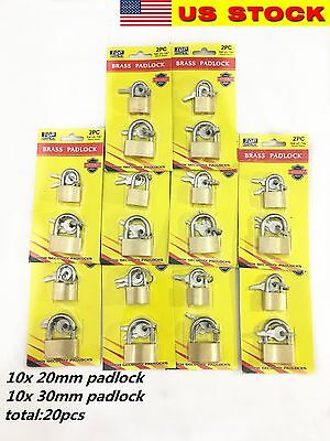 LOT OF 20pcs small brass padlock (20MM) (30MM) Mini Tiny Lock Box Jewelry drawer