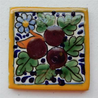 3X3 in Authentic Talavera Tile, Tree Branch w/Fruit & Flowers Made in Puebla