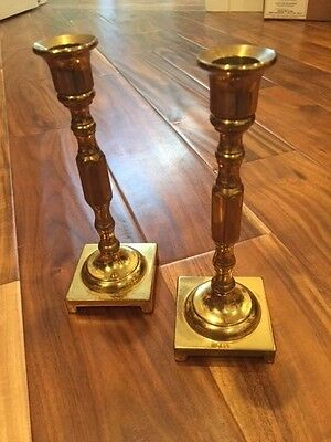 """Two 7 3/4"""" Ethan Allen Solid Brass Candle Stick Taper Holders"""