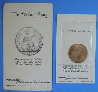 1964 Great Britain British Large The Sterling Penny Paramount Coin Co.