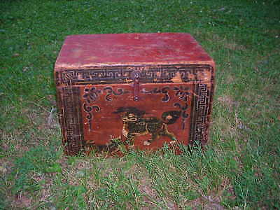 Early Antique 19Th Century Tibetan Box Or Chest 13X13X18 Slightly Distressed