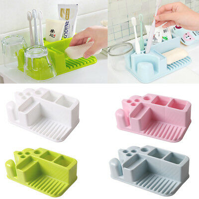 New Home Bathroom Toothbrush Holder Stand Set Plastic Cup Soap Storage Rack