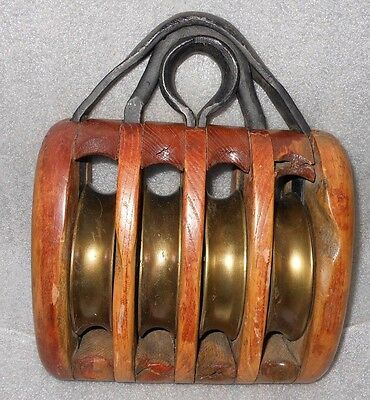 Vtg. Nautical Sail Rope Block / Pulley 4-Brass Wheels & Cast Iron Wood Face Rare