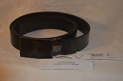 Brand New Authentic Versace Men's V91S173 Leather Belt - Black