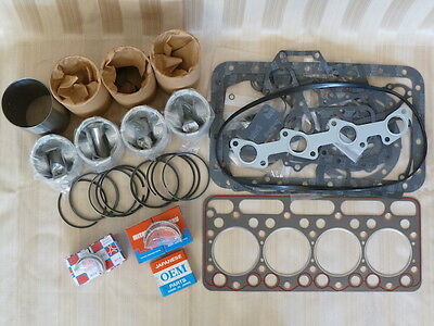Kubota V1902 Engine Overhaul Kit / Liners, Pistons, Rings, Bearings, Gasket Set
