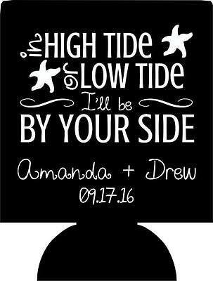 high tide or low tide wedding koozie personalize beer can no minimum 111632398