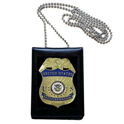 United States US Federal Air Marshal Officer Badge + Holder Cosplay Agent Props