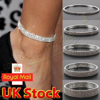 Silver Ankle Bracelet Stretchy 2 3 4 5 Rows Anklet Chain Diamante Rhinestones UK