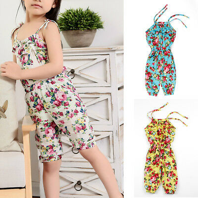 Baby Kid Girl Cotton Playsuit Jumpsuit Romper Flower Sling Age 2-8 Various Color