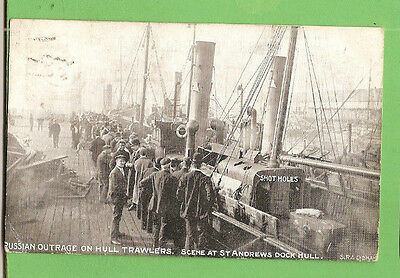 #N. 1904 Shipping  Postcard -  Russian Outrage On Hull Trawlers