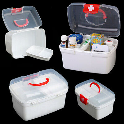 PLASTIC CLEAR 2 Layers Health Pill Medicine Chest First Aid Kit Case