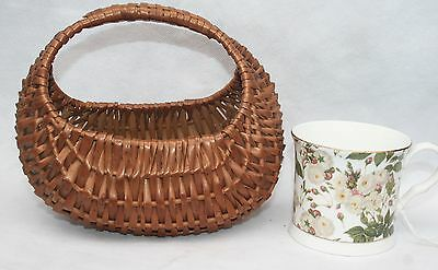 Antique Vintage Handmade Child's Miniature Wicker Gondola Shopping Small Basket
