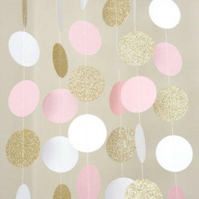 Pink White Gold Glitter Circle Polka Dots Paper Garland Banner 10 FT Banner
