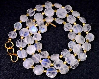 "N-0073/1 White Rainbow Moonstone Gemstone Coin Plain Loose Beads 18"" Necklace $"