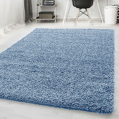Modern Duck Egg Soft Shaggy Non Shed Blue Plain Rug Thick Fluffy Floor Carpet