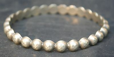 Arts & Crafts Vintage Silver Hammered Metal Bangle with Beaded Effect