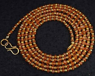 "N-0058/1 Carnelian Natural Gemstones Rondelle Faceted Beads 2-4mm 33"" Necklace"