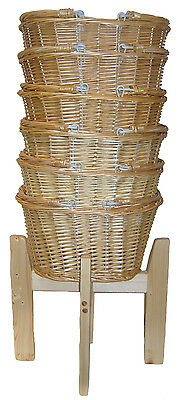 Wicker Shopping Baskets Folding Handles & Wooden Shopping Display Stand - SMALL