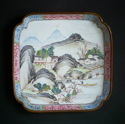 Antique Chinese Canton Enamel Tray