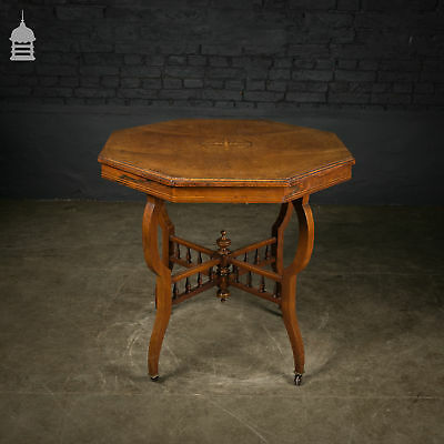 19th C Inlaid Octagonal Walnut Table with Casters and Finial Detail